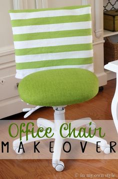 Home Office Decorating Ideas – Easy Office Chair Cover Idea | In My Own Style. This is another fab idea. I just need to kidnap the office chair for an hour just so I can transform the unsightly thing.