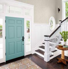 May 2014 | Lowe's Creative Ideas.  Woodlawn Colonial Grey #6004-1B for walls.  Lyndhurst Duchess Blue #5002-5C for Door
