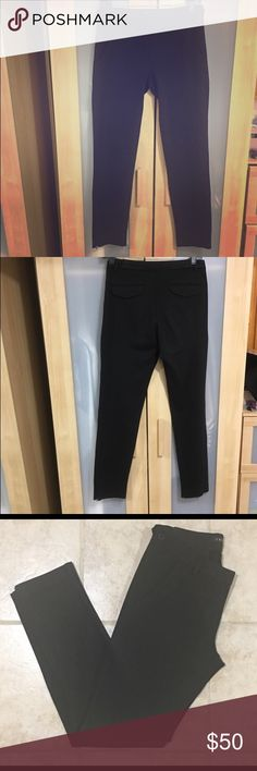 """Theory Black Skinny Trousers- size 2. Theory Skinny fit black trousers. Sleek enough for work but discrete side zippers make them easily dolled up for an evening out. 30"""" - just too long for me. 71% viscose 23% polymide and 6% elastic. Super comfy and stylish. Re-Posh Theory Pants Trousers"""