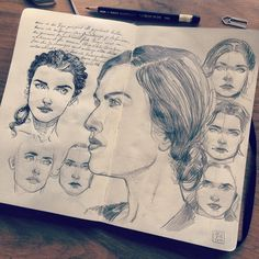 """Jared Muralt - Character study for """"The Fall"""" comic in my #Moleskine #sketchbook  I'm still working on the story and on the other hand I have to fix those characters which I find quiet hard to do. #drawing #woman #face"""