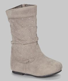Take a look at this Gray & Silver Studded Slouch Boot on zulily today!