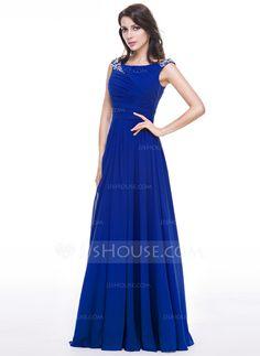 A-Line/Princess Scoop Neck Floor-Length Chiffon Evening Dress With Ruffle Beading Sequins (017056497) - JJsHouse