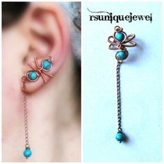 OOAK Wire Wrapped Turquoise Ear Cuff Chain by rsuniquejewel, $13.00