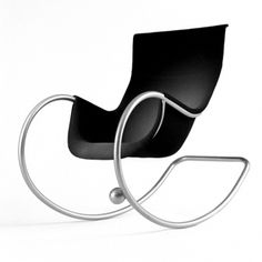 Keinu Rocking Chair by Eero Aarnio: Molded plastic seat upholstered with black leather, the first version of this was drawnin the '80's.