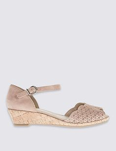 2c50bb7f887 Wide Fit Suede Wedge Heel Sandals Nude Wedges