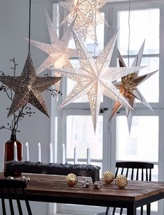 Repinned- going to do this with 3D snowflakes over our dining table. What a great way to contrast with a table setting.