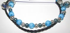 A Black Leather Bracelet and a extra Bracelet light Blue beads and Light Blue Drops Black Leather Bracelet, Blue Beads, Light Blue, Bracelets, Stuff To Buy, Jewelry, Design, Fashion, Bangle Bracelets