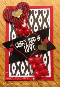 """Feeling Groovy! """"Groovy Love"""", Sweetheart Punch, Itty Bitty Punch Pack, 2x8 cello bags, Banner from Mini Treat Bag Dies."""