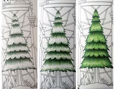 Trees from Johanna Basford coloring book. Colored Pencil Tutorial, Colored Pencil Techniques, Colouring Pages, Coloring Books, Coloring Tips, Copics, Prismacolor, Secret Garden Coloring Book, Johanna Basford Coloring Book