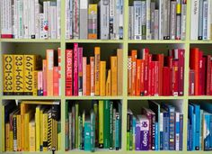 books arranged by color - Slate
