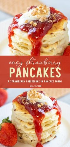 Make the best Strawberry Pancakes on Father's Day with a few easy steps! Drizzled in a homemade fresh strawberry sauce and sweetened topping, this breakfast idea tastes just like a classic cheesecake. Everyone will love this irresistible recipe on Father's Day morning! Fruit Pancakes, Strawberry Pancakes, Crepes And Waffles, Strawberry Sauce, Egg Recipes For Breakfast, Savory Breakfast, Brunch Recipes, Dessert Recipes, Brunch Ideas