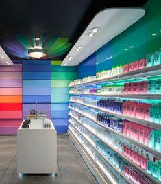 The elegant use of colour characterises Studio Tjeps redesign of the cosmetics department of European retailer Hema.