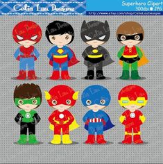 Superhero Clipart set includes 15 cute graphics Graphics are PERFECT for the Scrapbooking, Cards Design, Stickers, Paper Crafts, Web Design, T-shirt Design...More and more! Whatever your want! [Details] ‧This is a digital download products ‧Saved in PNG format (individual PNG