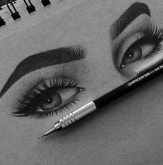 How to shape perfect brows - permanent brows - microblading like recently I had a blond crush, and am still thinking of going blonde. I have now decided to have my brows micro-blended or… How to shape perfect brows - permanent brows - microblading Pencil Art Drawings, Art Drawings Sketches, Cute Drawings, Art Du Croquis, Perfect Brows, Eye Art, Beautiful Drawings, Art Forms, Art Inspo
