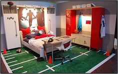 Teen Boys Football Bedroom- I guess it could be a younger boys bedroom too! Love the football turf rug! -- If my son (that I hope to have someday) is anything like his father, he will have this room. Boys Football Bedroom, Football Rooms, Boy Sports Bedroom, Kids Bedroom, Football Field, Boy Bedrooms, Boys Sports Rooms, Basketball Bedding, Basketball Baby