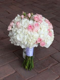 White hydrangea and blush pink rose bouquet by Love In Bloom Florist Key West