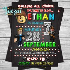 party city invitations birthday new 47 inspirational roblox Birthday Invitations Party City Design Best Design - Make it Invitation 9th Birthday Parties, Birthday Games, Boy Birthday, Birthday Ideas, Birthday Messages For Son, Dinosaur Birthday Invitations, Chalkboard Invitation, Party Ideas, Party Themes