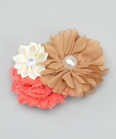 Brown & Ivory Triple Blossom Headband