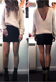 I like the skirt and sweater look