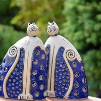 Blue! Ceramic Figures, Clay Figures, Ceramic Art, Hand Thrown Pottery, Hand Built Pottery, Raku Pottery, Pottery Art, Blue Pottery, Ceramic Animals