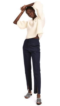 Ankle-length pants in denim with a high waist and zip fly. Side pockets, mock back pockets, and straight, tapered legs with a slit at front Blue Trousers Outfit, Trouser Outfits, Denim Pants, Dark Denim, Blue Denim, Jeans Bleu, Ankle Length Pants, Trends, High Waist