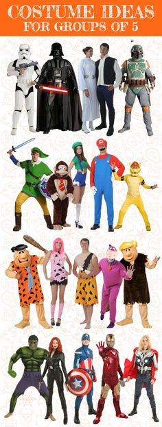 Here are some bright, fun, classic Halloween costume ideas for groups of 5. Many more ideas available through our group costume selector tool!