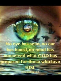 """1 Corinthians 2:9 ~ However, as it is written: """"No eye has seen, no ear has heard, no mind has conceived what God has prepared for those who love him"""" -"""
