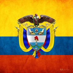 Patriotic Digital Art - Colombia Coat Of Arms And Flag by Serge Averbukh Colombian Flag, Hispanic Heritage Month, Flags Of The World, Coat Of Arms, Porsche Logo, South America, Digital Art, Warrior Women, Kids Crafts
