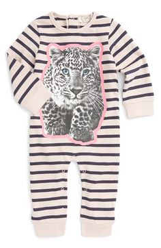 Free shipping and returns on Stella McCartney Kids 'Dewberry' Leopard Graphic Stripe Romper (Baby Girls) at Nordstrom.com. A fun take on leopard print and crisp stripes detail a supersoft, ribbed cotton romper featuring cozy long sleeves.