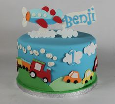 Cake 1 Year Boy, 3 Year Old Birthday Cake, Boys First Birthday Cake, Baby Birthday Cakes, Birthday Cake Toppers, Cars Theme Cake, Airplane Birthday Cakes, Dedication Cake, Planes Cake