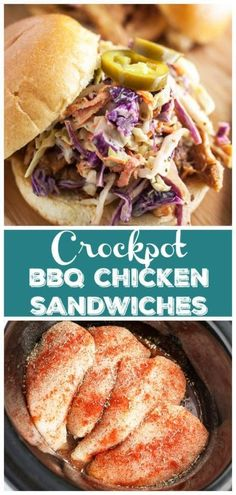 These Slow Cooker BBQ Chicken Sandwiches are full of tangy and smoky flavor. This easy recipe is made in the crock pot and topped with a flavorful coleslaw! Healthy Chicken Recipes, Easy Healthy Recipes, Easy Dinner Recipes, Vegetarian Recipes, Slow Cooker Bbq, Slow Cooker Recipes, Crockpot Recipes, Bbq Chicken Sandwich, Food Dishes