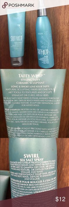 Surface taffy whip & sea salt spray Ocean salts and citrus fruits combined to create tousle beach waves and wind blown volume! Have beachy sexy hair with these two wonderful products. Both are full. surface Other