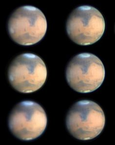 "Mars photographed during part of its rotation from Melbourne, Australia on March 8. The bright ""cap"" marks Hellas, now covered in wintertime..."