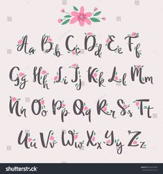 Vector colorful flower font nature colorful summer type and hand drawn alphabet spring beautiful flora set blossom lettering romantic cute design illustration. ☘For Design Illustratins CLIC HERE -☘ illustrations vector design illustration Bullet Journal Font, Journal Fonts, Bullet Journal Ideas Pages, Journaling, Illustration Design Graphique, Illustration Vector, Design Illustrations, Illustration Flower, Illustration Fashion