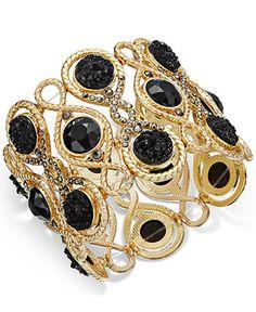 INC International Concepts Gold-Tone Jet Stone Wide Stretch Bracelet, Only at Macy's - All Fashion Jewelry - Jewelry & Watches - Macy's