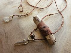 Drift wood pendant with leather Smokey Quartz & by SpiritCarrier, £33.00