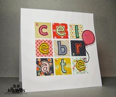 Lawn Fawn - Quinn's ABCs, Admit One _ love this cute grid design card by Jen at JENerally Speaking: Celebrate!