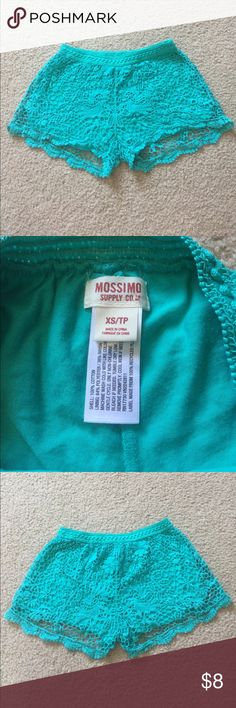 Mossimo teal lace shorts Size XS. Very soft teal lace shorts from Mossimo Supply Co. (aka Target). The lace is sturdy and gone through washes without ever ripping or tearing. Additionally, it has a cloth inlay for modesty. Great for summer, or as a poolside outfit when paired with a bathing suit.   👀Like the item but not the price? Make an offer👀 💅Feel free to ask for more pictures💅 💋Check out the rest of my closet to bundle💋 Mossimo Supply Co Shorts