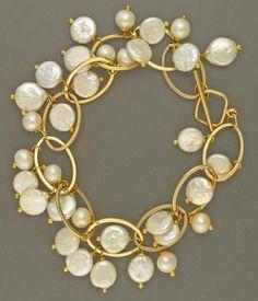 Freshwater pearls linked i gold bracelet | Craftsy