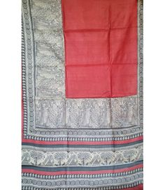 Pink Handloom Tussar Raw Silk Saree