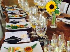 Chardonnay Wine & Food Seminar July 18 2016 Chardonnay Wine, Wine Food, July 18th, Wine Recipes, Table Settings, Table Top Decorations, Place Settings, Dinner Table Settings, Table Arrangements