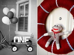 A birthday with a red and aqua sock monkey themed party. Guests were greeted at the door with a sock monkey wreath and hand painted ONE letters… Monkey First Birthday, Monkey Birthday Parties, Baby 1st Birthday, Birthday Party Themes, Birthday Ideas, Sock Monkey Party, Monkey Baby, Thing 1, Childrens Party