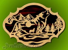 scroll saw patterns | Scroll Saw Patterns :: Wildlife :: Nature scene with wolf -