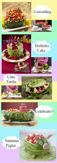 Watermelon baskets are a fun and very practical way to serve fresh fruit to your guests Watermelon Basket, Watermelon Art, Watermelon Carving, Carved Watermelon, Cute Food, Good Food, Fruit Creations, Food Carving, Veggie Tray