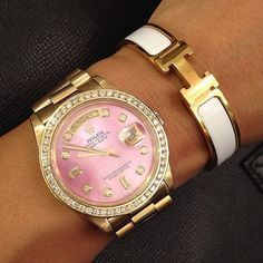 Pink Rolex and White Hermes.I cannot justify the price of a Rolex, so unless someone buys me one.I LOVE the shade of pink against the muted (non shiny/bright) gold and sparkling diamonds Jewelry Accessories, Fashion Accessories, Fashion Jewelry, Watch Accessories, Cheap Jewelry, Hermes Bracelet, Rolex Bracelet, Bracelet Watch, Gold Rolex