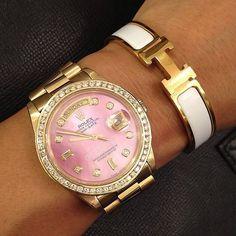 Pink Rolex watch & Hermes bangle #goldlove i want