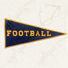 """Football Pennant Flag Applique Embroidery Design INSTANT DOWNLOAD for DIY projects, from Designed by Geeks. Use vinyl & other materials for Silhouette projects, Cricut projects, Brother ScanNCut projects. No desktop plotter or cutting machine? Use a printer & photo transfer paper! Instructions included.  This is an appliqué design of a pennant flag with the word """"football"""" in sports style lettering."""