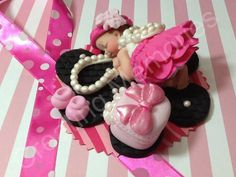 Baby Girl and Pearls/Edible Cake Toppers Made of by anafeke