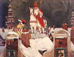 Over the Rooftops comes Sint & Piet Vintage Christmas Cards, Christmas Images, Vintage Cards, Animiertes Gif, Animated Gif, Home Bild, Elsa Beskow, Father Christmas, Christmas Fun