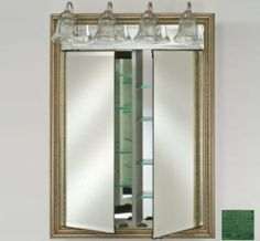 """Afina Corporation DD-LT3140RRUSGN 31x40 Traditional Integral Lighted Double Door - Rustic Wood Green by Afina Corporation. $1267.00. Up to 60 watts per socket.. 3/4 Perimeter bevel mirror standard.. 3/8 Thick adjustable glass shelves.. Gray satin anodized aluminum construction.. Matching beveled mirror behind lights.. 3/4"""" Perimeter bevel mirror standard. 3/8"""" Thick adjustable glass shelves. Matching beveled mirror behind lights. Up to 60 watts per socket. Gray satin an..."""